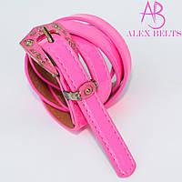 Ремень женский узкий на шпеньке (кислотно-розовый) 15 мм-купить оптом в Одессе