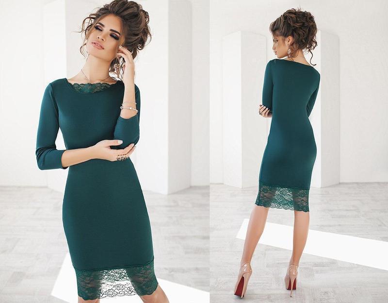 Облегающее платье-миди с кружевной отделкой (К20105)