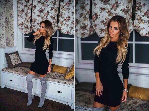 Ангоровое черное платье «Осень» (К20114)