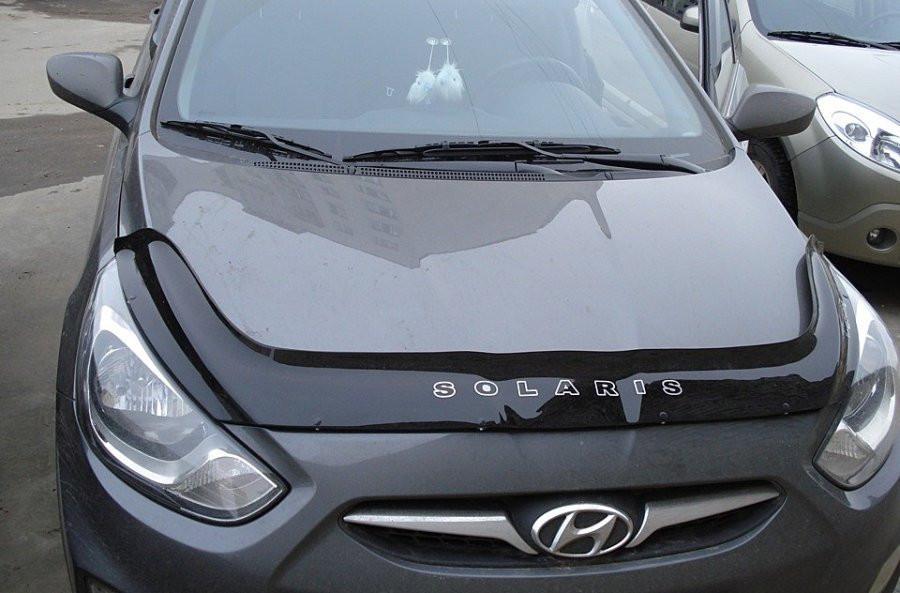 Hyundai Accent Дефлектор капота мухобойка на для HYUNDAI ХУНДАЙ Хендай Accent /Solaris 2010-2014 / длинная