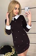 Платье с бусами мини 42-46р цвета в ассортименте