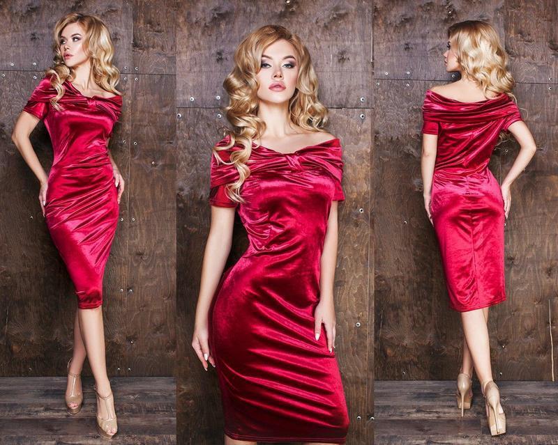 c57bf9893b7 Вечернее бархатное платье-миди (К20187) - DESEO BOUTIQUE. Оптово-розничный  магазин