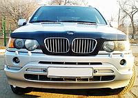 BMW Х5 Дефлектор капота мухобойка на для BMW БМВ Х5 (Е53) 2000-2004 с облиц.радиат, без отверстия под эмблему