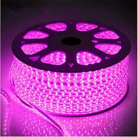 Светодиодная лента розовая SMD 2835/120 220 В IP68 Код.59320