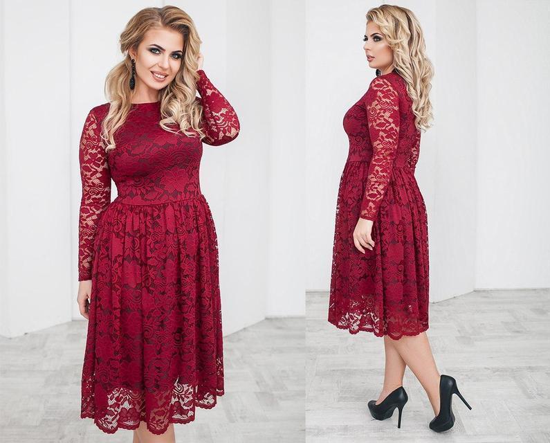Нарядное гипюровое платье-миди батал (К20248)