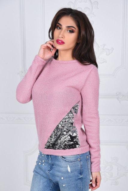 Вязаный женский свитер с пайетками (К20353)