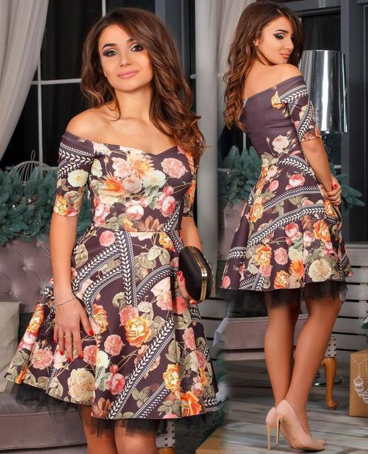 Платье женское короткое с фатином (К20417)