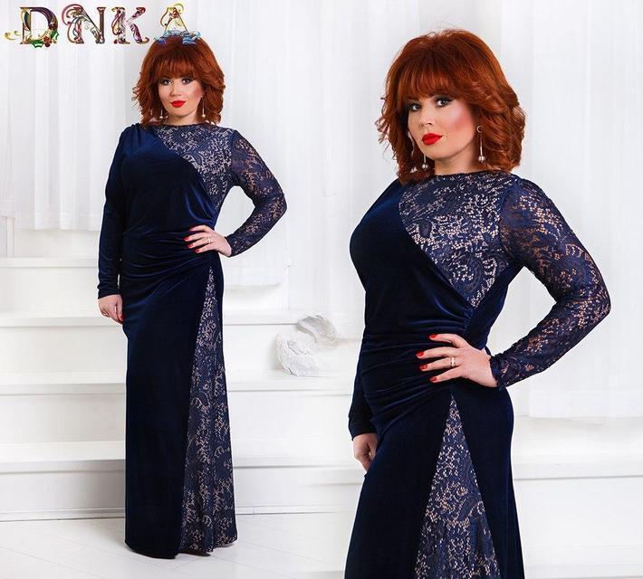 Вечернее платье с гипюровой вставкой батал (К20519)