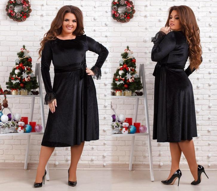 Нарядное бархатное платье-миди батал (К20526)