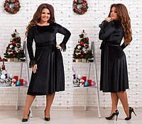 Нарядное бархатное платье-миди батал (К20526), фото 1