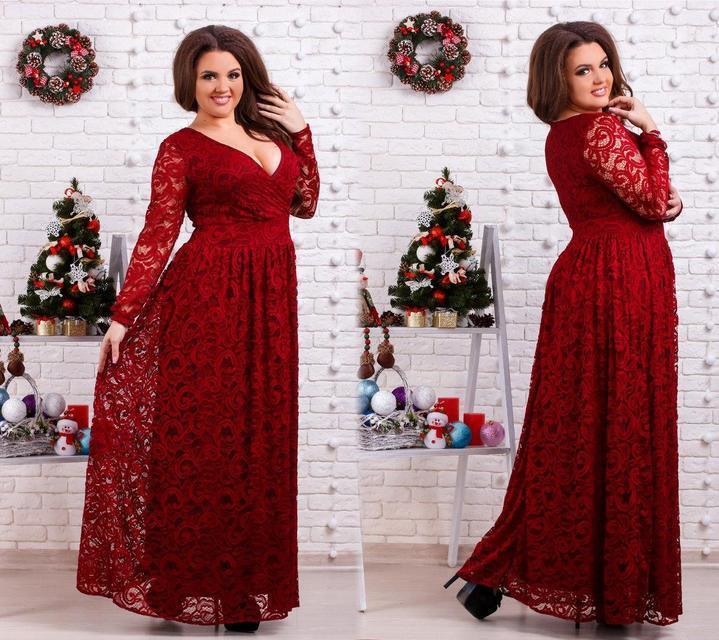 4f0578c8aa2 Купить Вечернее гипюровое платье в пол батал (К20530)  ...  в Украине