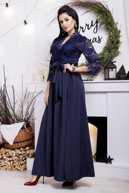 Вечернее женское платье с гипюровыми рукавами (К20575)