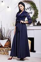 Вечернее женское платье с гипюровыми рукавами (К20575), фото 1