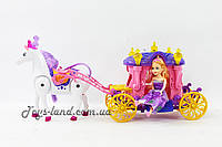 Карета 05011 (1343666)   с лошадкой,  музыкальная игрушка детская ходит, куколкой, в коробке 46*11*21 см.