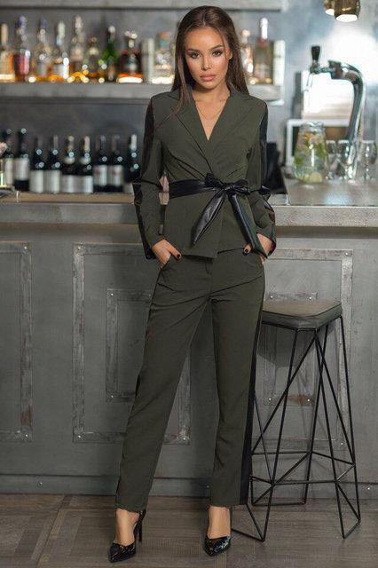 Брючный женский костюм с кожанными вставками (К20648)