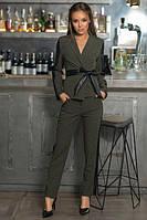 Брючный женский костюм с кожанными вставками (К20648), фото 1