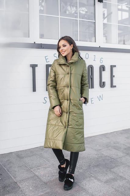 Длинная женская синтепоновая куртка (К20675)