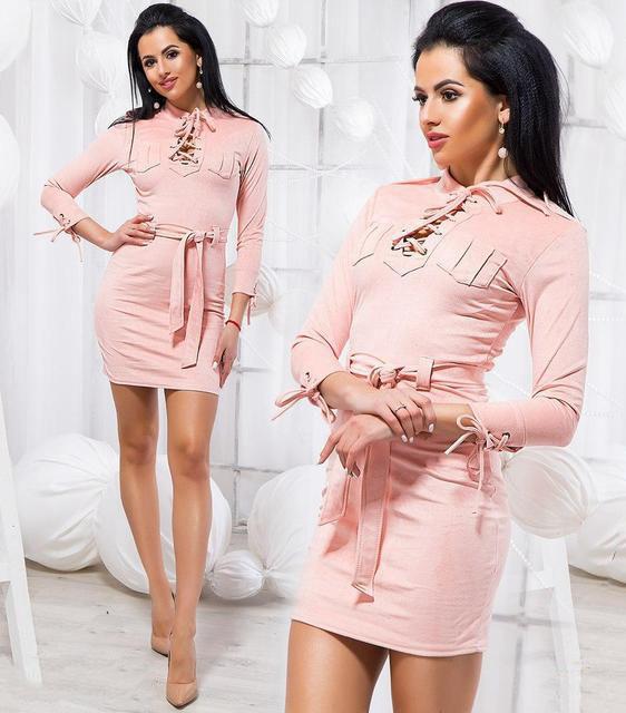 Платье женское короткое замшевое «Шнуровки» (К20708)