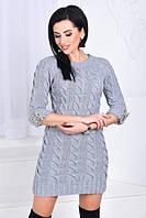 Теплое вязаное платье рукав 3/4 (К20811), фото 1