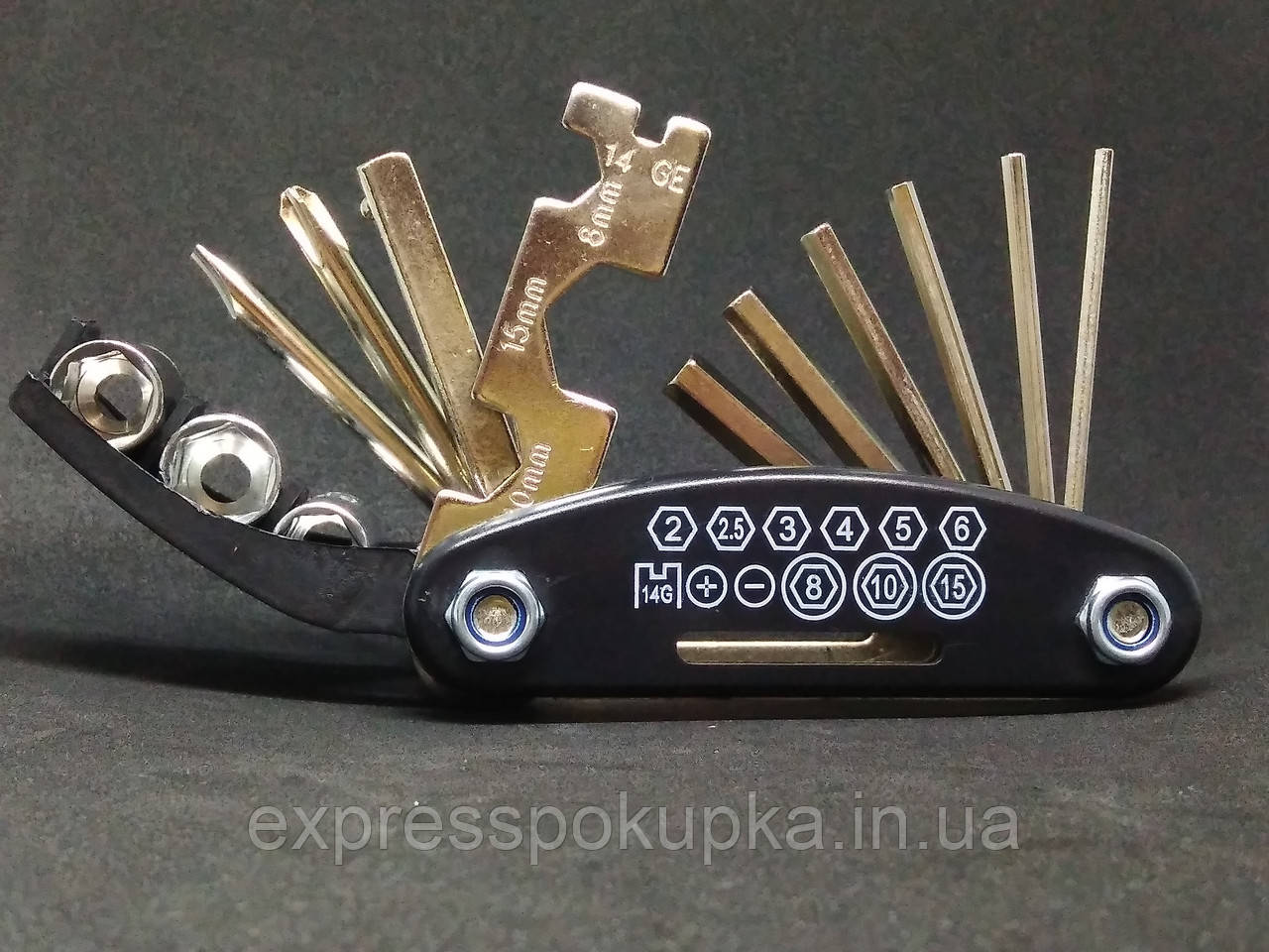 Компактный набор, Мультитул ROCKBROS | Набор многофункциональных инструментов для велипеда 16 в 1