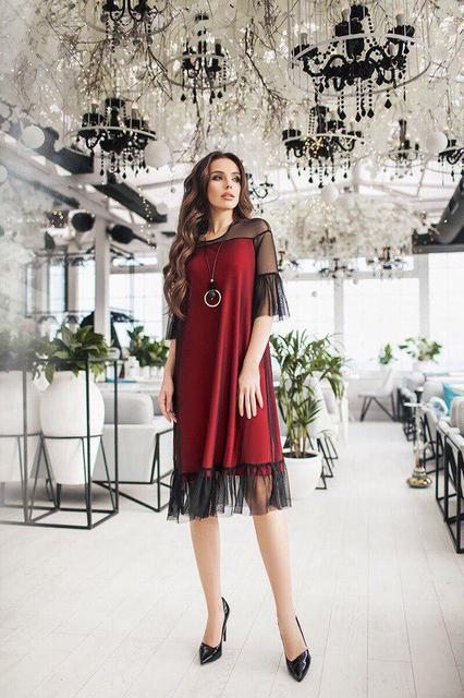 Платье женское декорировано сеточкой (К21049)