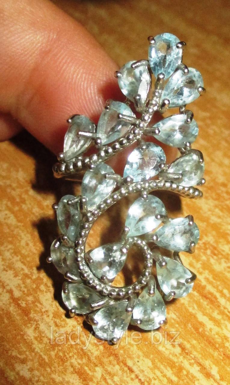 """Серебряное кольцо с натуральным топазом """"Индия"""", размер 16,8"""