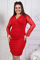 Облегающее платье с глубоким декольте батал (К21229), фото 1