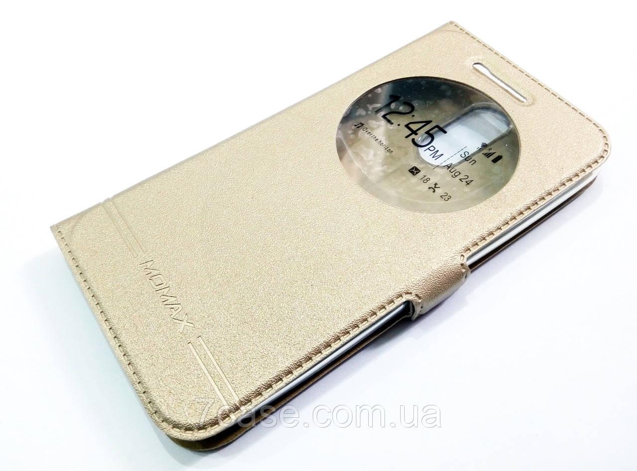 Чехол книжка с окошком momax для LG K10 2017 m250n / x400 золотой