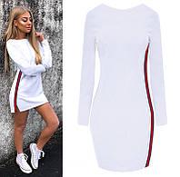 Белое спортивное платье в стиле Gucci (код 139)