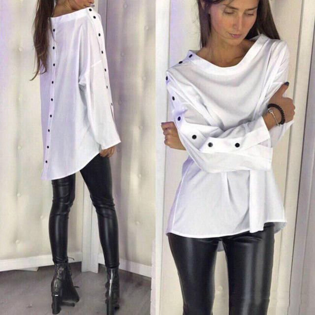 962b605cc4a Купить Стильная женская белая рубашка (К21477)  ...  в Украине