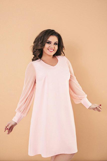 Платье короткое свободного кроя батал (К21514)