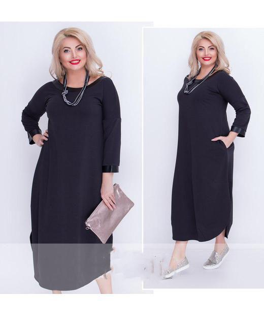 Длинное женское платье батал (К21555)