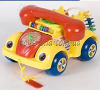 Каталочка игрушка для малышей 705Р  машина-телефон, на веревочке, в пакете 22*14 см.