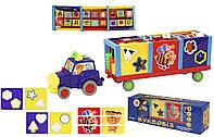 Каталочка игрушка для малышей KI-403 (380050R)  сортер, пазлы, буквы, счеты, в коробке  46*9,5*14 см.