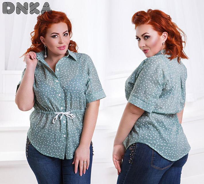Летняя женская рубашка короткий рукав (К21602)
