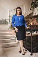 Комбинированное платье-миди батал (К21629), фото 1