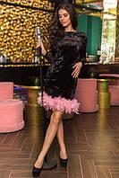 Платье короткое бархатное декорировано перьями (К21643), фото 1