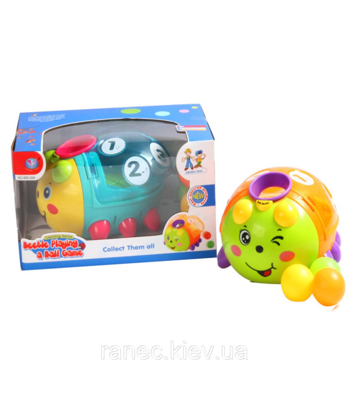 Музыкальная игрушка 855-24A пчелка-сортер,2 режима, шарики, свет, звуки в коробке 26*17,5*1