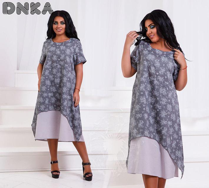 Комбинированное длинное платье батал (К21745)