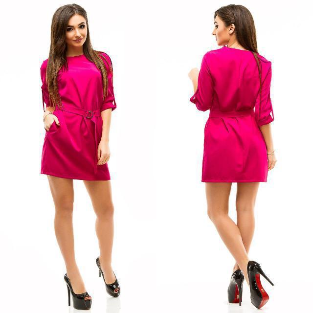 Платье женское короткое с поясом (К21779)