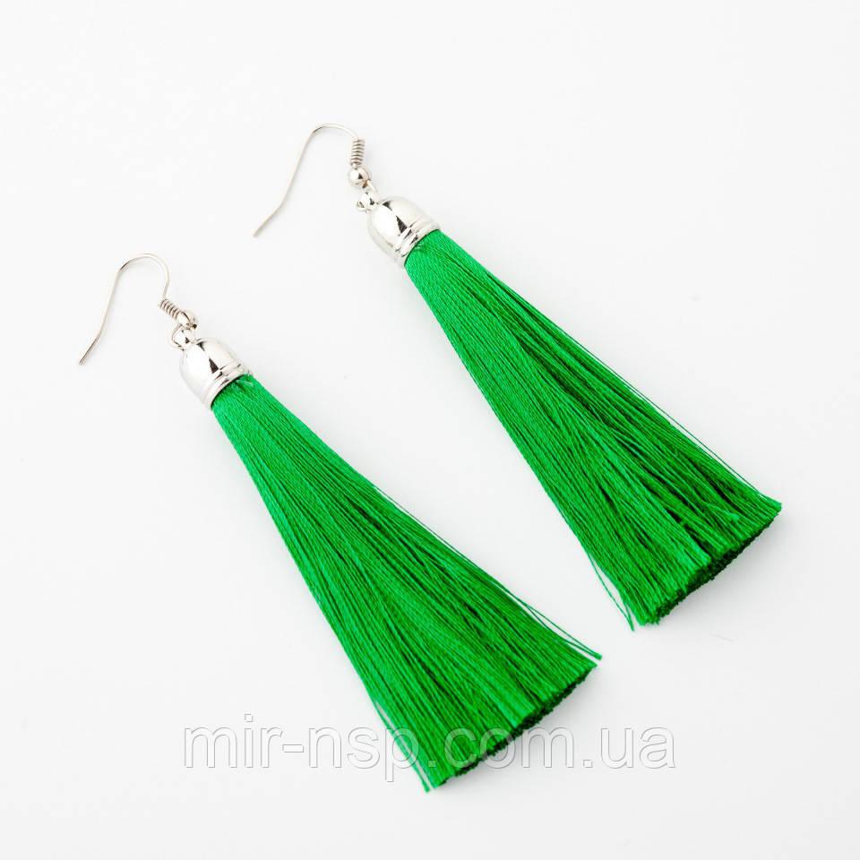 Серьги кисти цвет зеленый 8 см