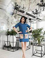 Платье джинсовое свободного кроя (К21866)