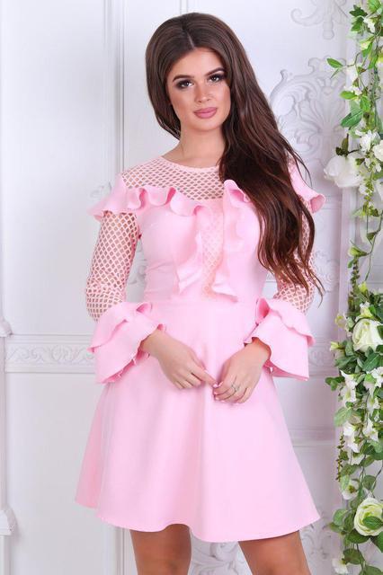 Нарядное короткое платье с рюшами (К21953)