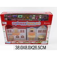 Кукольный домик игровой набор 08829 (1430959)  свет/ музыкальная игрушка детская 2-этаж,фигурки,пес,20акс мебели:кровать,стол,стулья,ТВ... ,к