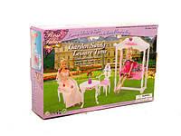 Мебель для куклы Gloria 2619  для терассы,качеля,столик,2 стула, в коробке
