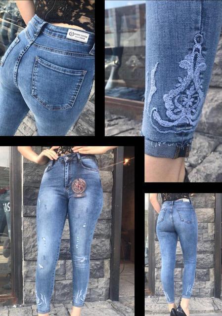f74923933400 Стрейчевые женские джинсы с вышивкой (К22078) - DESEO BOUTIQUE.  Оптово-розничный магазин