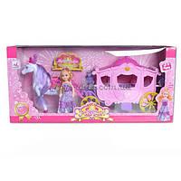 Карета 05012 (1334774)  с лошадкой,  музыкальная игрушка детская  ходит, куколкой, в коробке