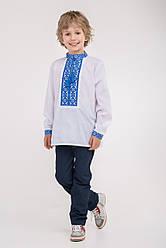 Мальчиковая вышиванка с синим орнаментом