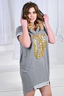 Платье женское короткое летнее с капюшоном (К22400), фото 1