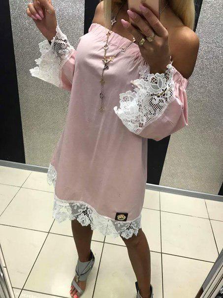 Платье женское короткое свободного кроя с кружевом (К22414)